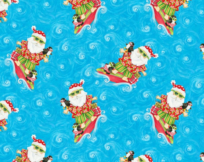Blank Quilting - Holiday Beach - Surfing Santa - Island Santa - Surfing - Christmas Flamingo - Flamingo fabric- Sold by the Yard