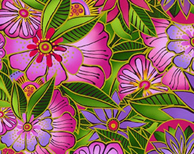 Laurel Burch - Sea Goddess - Floral - Fuchsia - Flowers -  Y2599-77 - Sold by Yard