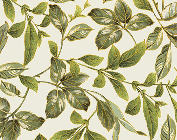 Kanvas for Benartex - Field of Dreams - Botanical  Leaves - Cream/Green -  Gold Metallic  - 8937-07 - Sold by the Yard