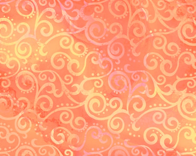 """Quilting Treasures - Ombre Scroll -  Melon -  24174C - Sold by the Yard - 36"""" x 45"""""""