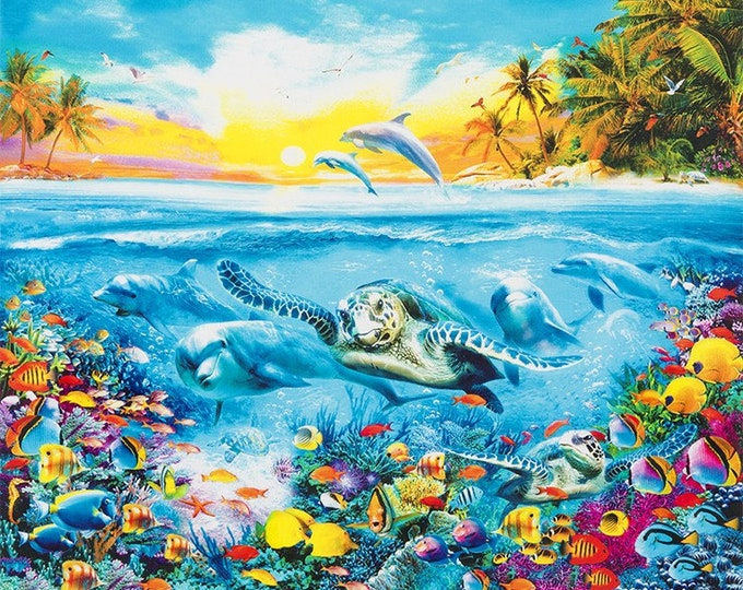 Robert Kaufman - Picture This - Adventure - Sea Turtle - Dolphin - 17038-267 -  Panel - Sold by Panel