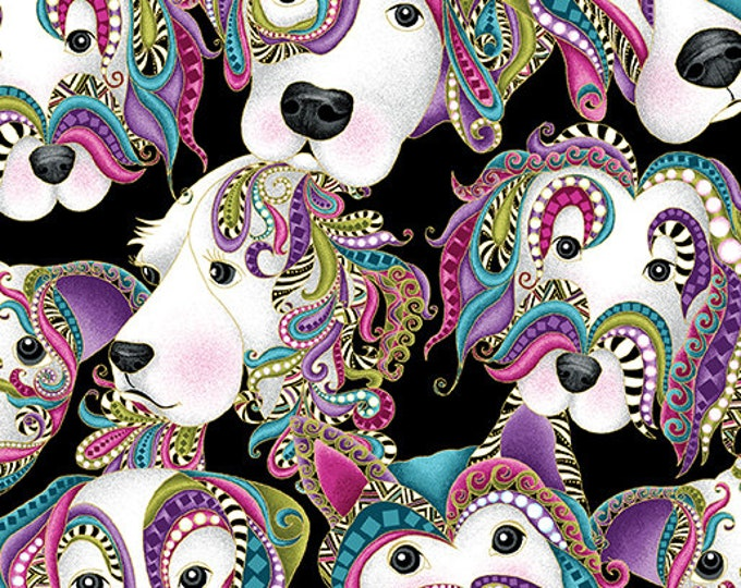 Benartex - Dog On It - Lets Face It -  Gold  Metallic - Dog Faces - Black  -  6253M12B- Sold by the Yard