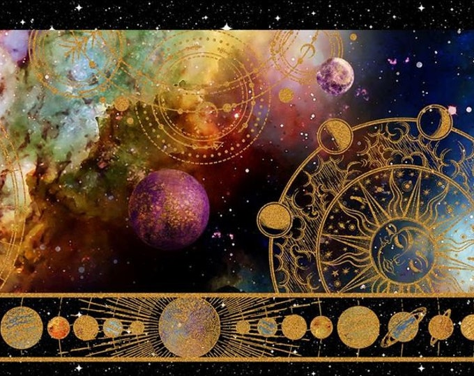 In the Beginning Fabrics - Cosmos - Jason Yenter - Border - Universe - Space - Celestrial - Planets - 3COS1 - Sold by the Yard