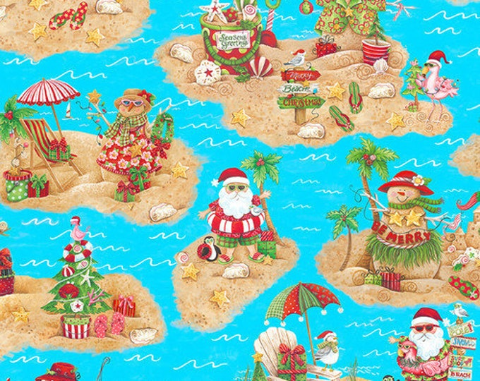 Blank Quilting - Holiday Beach - Scenic Santa - Island Santa - Surfing Santa- Christmas Flamingo - Flamingo fabric- Sold by the Yard