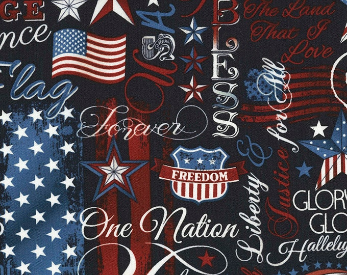 Timeless Treasures  - Patriotic Words - Patriotic Fabric - USA Fabric - USA - C5280 - Sold by the Yard