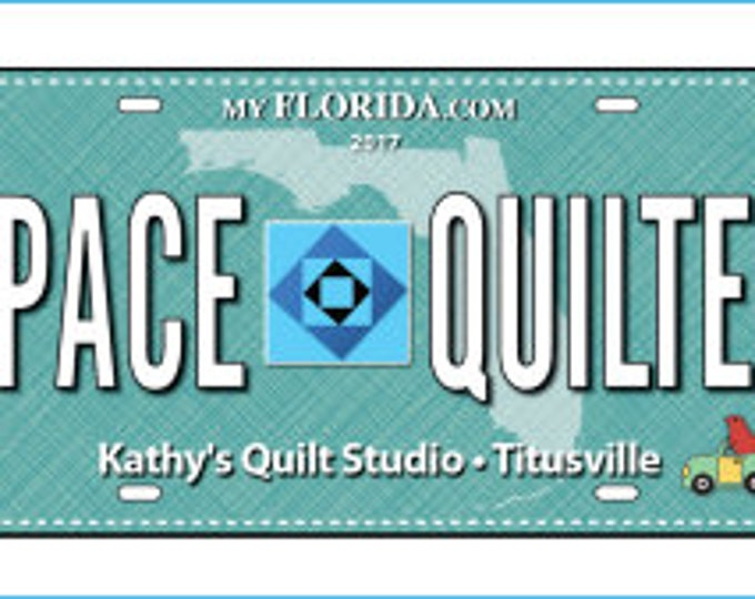 Row by Row License Plate 2017 -  Quilters Trek - Space Quilter - On the Go - 2017 RowxRow