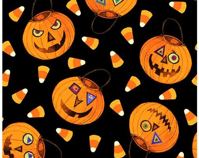 """Blank Quilting - Witchful Thinking  - Pumpkins  -  1537-55 - 36""""x44"""" - Black - Halloween - Sold by the Yard"""