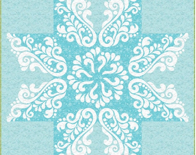 """Snow Crystal  - Pre-cut/fused Kit - 48""""x57"""" - Applique Kit including Pattern - precut kit - By Cherry Guidry - Sold by Kit"""