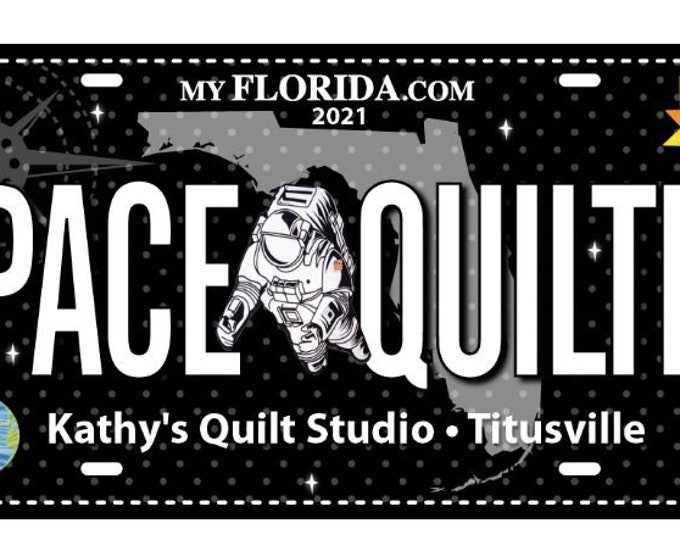 Quilters Trek Licnese Plate - Astronaut License Plate - Row by Row License Plate- Space Quilter - Astronaut -2021- Sold by the License Plate