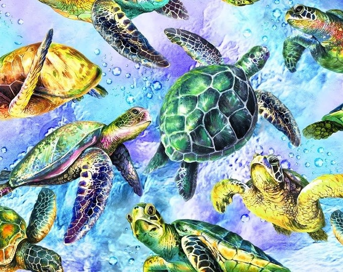 """Oasis Fabrics - The Reef - Coral Reef - Sea Turtle - Lt Blue - Under the Sea  -  36"""" x 44"""" -  593852 - Sold by Yard"""