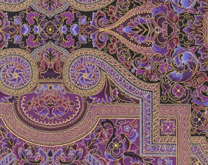 Robert Kaufman - Persis - Noble Purple -  SRKM-20145-413  - Gold Metallic - Sold by Yard