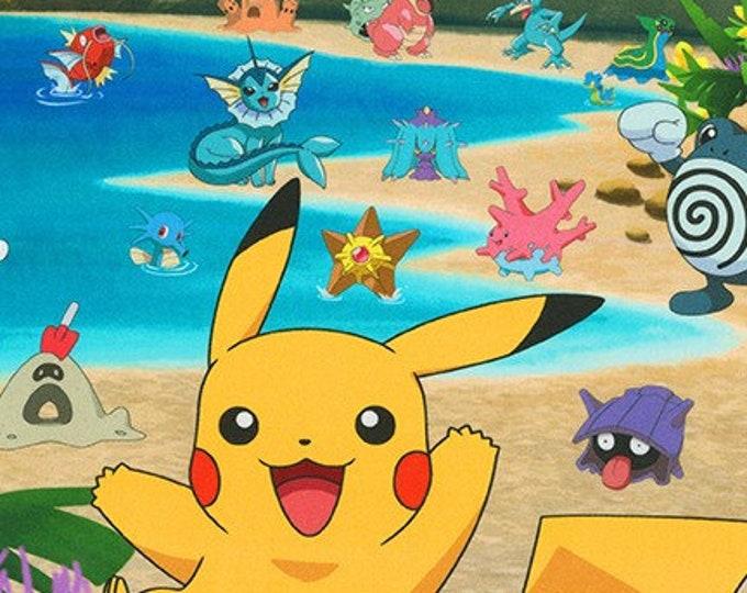Robert Kaufman - Pokemon Panel - Pikachu on the Beach - Pokemon - AOPD-18843-205 - Sold by the Panel