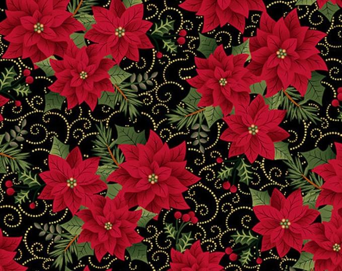 Kanvas for Benartex - Charm Holiday - Poinsettia - Black -  Gold Metallic  - 9600M12  - Sold by the Yard