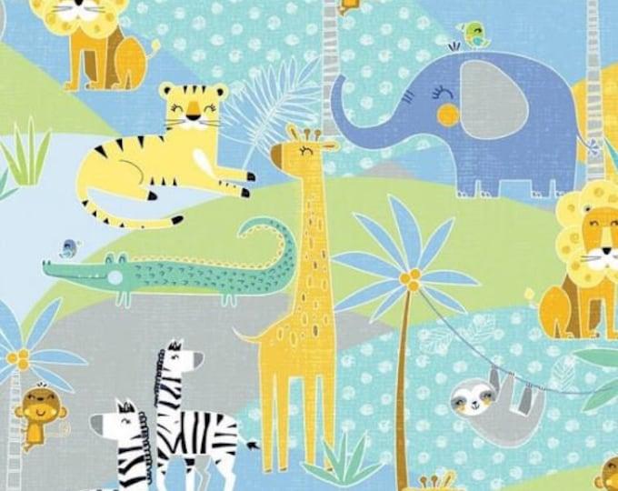 Kanvas for Benartex - Sweet Safari - Scenic - Safari -  Multi - 9894-99 -  Animal fabric - Baby Fabric - Sold by the Yard