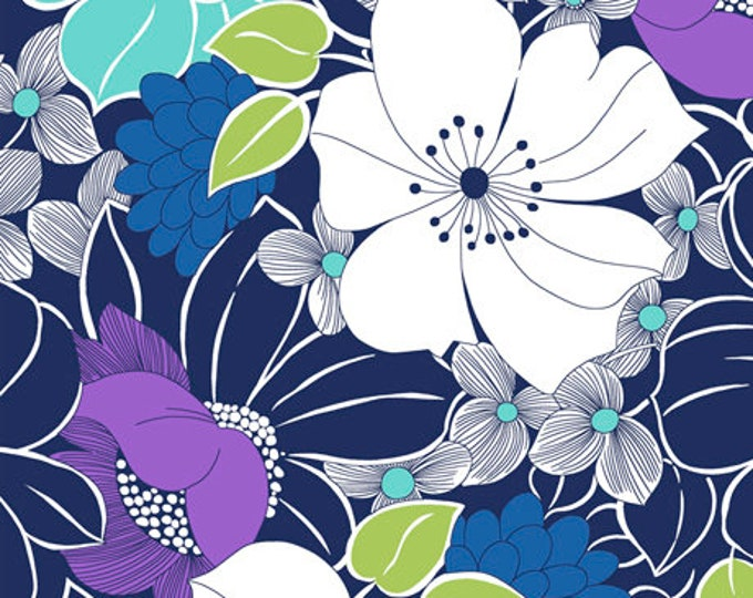 Quilting Treasures - Lexi  - Large Floral - Navy - 27507N - Sold by the Yard