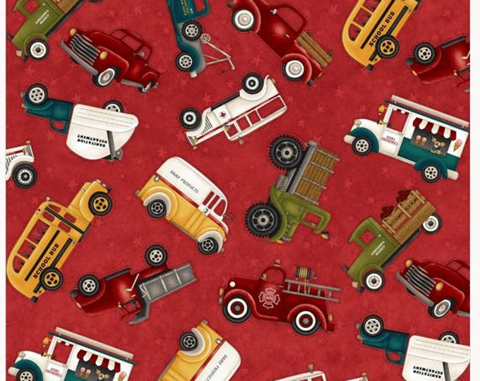 Henry Glass - Papas Old Truck - Truck Toss - All over Print - Truck - Cars - Animals - 9157-88 - Red - Sold by the Yard