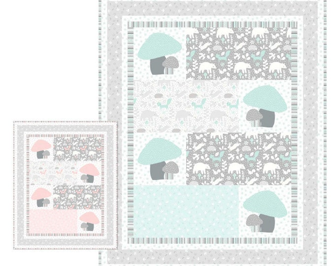 """Northcott - Hello Little One - Forest Animal Quilt - Sweetie Quilt Pattern -Baby quilt - 38""""x47"""" - Beginner quilt -Sold by the Pattern"""