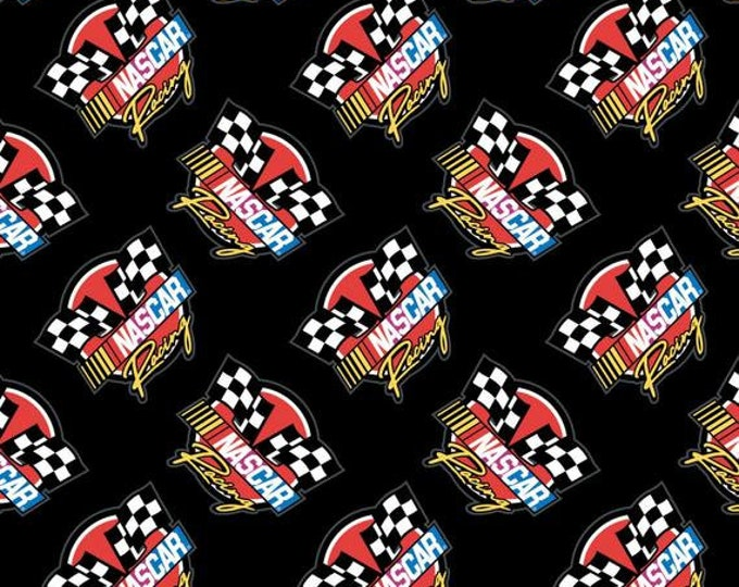 Camelot - Nascar - Retro Racing  - Black - Checkered Flag - Black - 39190106-03 - Sold by the Yard