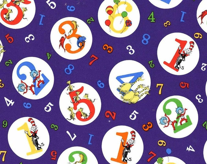 Robert Kaufman - Dr. Seuss 123 - Seuss and Numbers - ADE-74437-307 Grape - Sold by the Yard