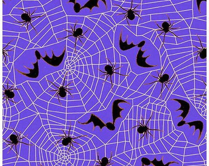 """Blank Quilting - Witchful Thinking  - Spider and Spiderwebs -  1539-55 - 36""""x44"""" - Purple - Halloween - Sold by the Yard"""
