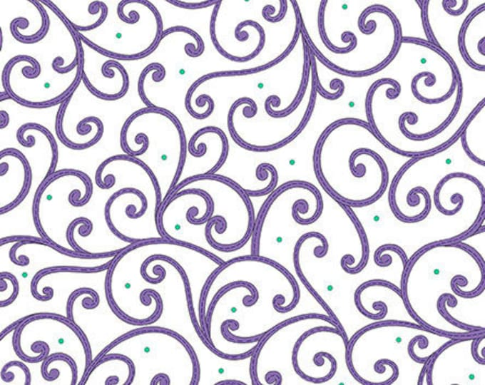 Quilting Treasures - Imperial Paisley - White/ Purple Swirl - Fabric by the Yard - 26039 Z