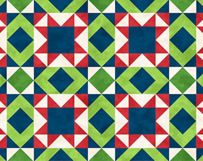 """Northcott - Santa Stop Here - Patchwork - Christmas - Holiday Fabric - Santa Fabric - 23489 49 -  36""""x44"""" - Sold by the Yard"""