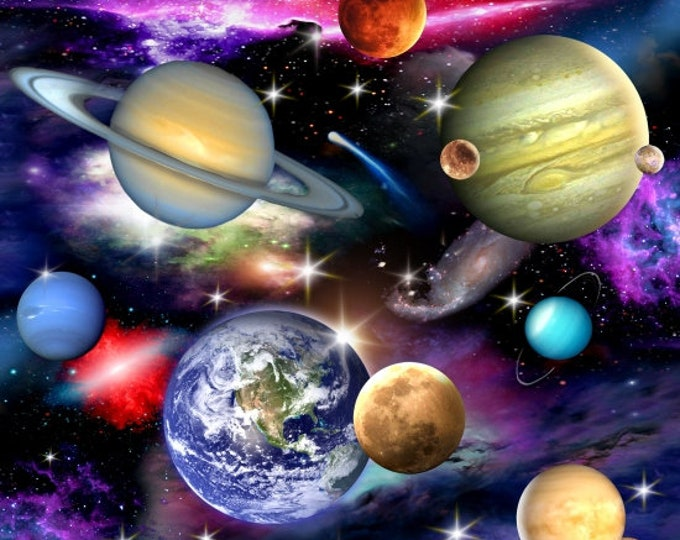 Elizabeth Studio Fabric - In Space -  1297 - Space fabric - Planets -  Sold by the Yard