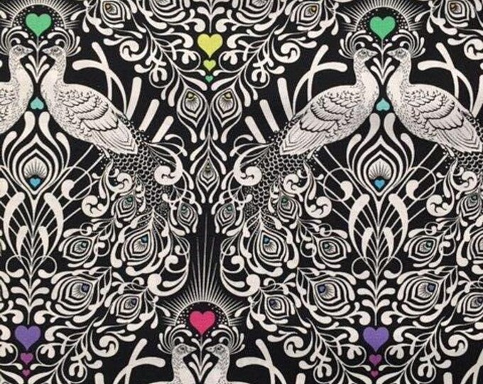 Free Spirit Fabric - Tula Pink - Linework - Line Work - Tall Tails -  PWTP152 - Ink - Black  - Sold by the Yard