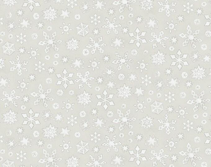 Benartex - White Woodland - Whisper Snowflake  - Light Stone -- 06650-07- Sold by the Yard