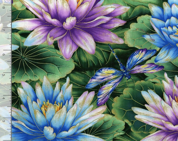 Timeless Treasures -  Water Dance - Water Lily - Dragon Fly - Dragonfly -  Gold Metallic - CM8302 - All Over Lily  - Sold by the Yard