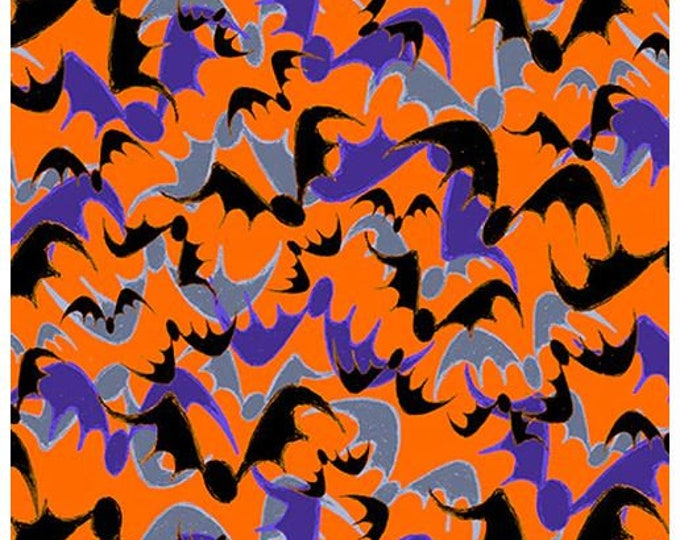 """Blank Quilting - Witchful Thinking  - Bats -  1542-33 - 36""""x44"""" - Orange - Halloween - Sold by the Yard"""
