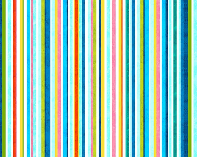 Studio E - Blooming Ocean - Stripe  - 5407-18  - Multi - Sea Life  - Sold by the Yard