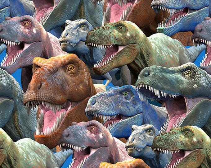 """Blank Quilting - Tyranno-Chorus - T-Rex Collage - Dinosaur -  1549-90  - 36x44"""" - Gray - Sold by the Yard"""