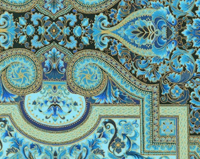 Robert Kaufman - Persis - Blue/Teal-  SRKM-20145-4  - Gold Metallic - Sold by Yard