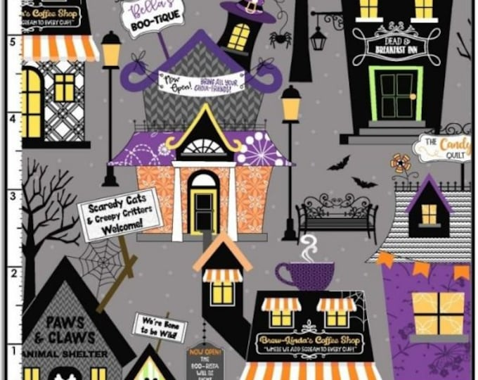 Kimberbell - Hometown Halloween - Houses - Gray - 9920-K-  Backing Fabric for Candy Corn Quilt Shoppe - Sold by the Yard