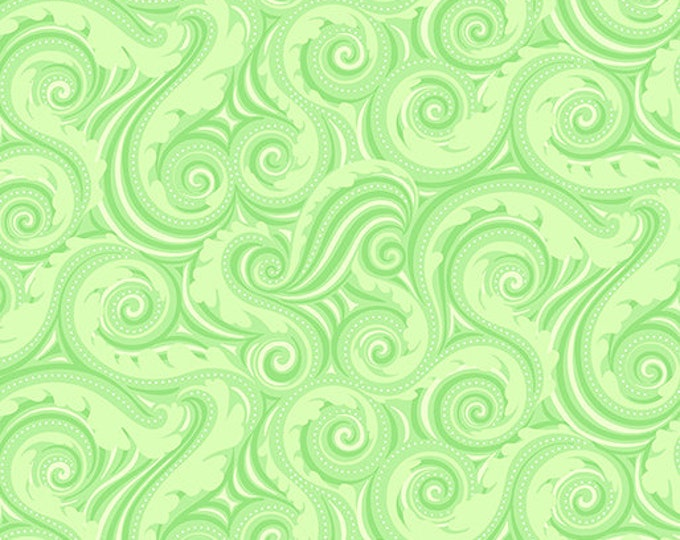 Benartex - Contempo - Crescendo - by Amanda Murphy - Wave - Lime -  10256-43 - Flowers and Shells  - Sold by the Yard