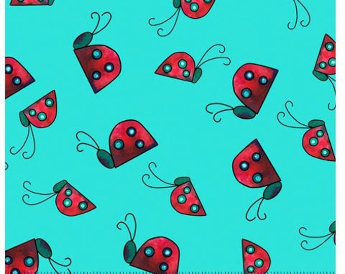 """Quilting Treasures - Painterly Garden - Ladybugs - 28040Q - Aqua - 36""""x43"""" - Sold by the Yard"""