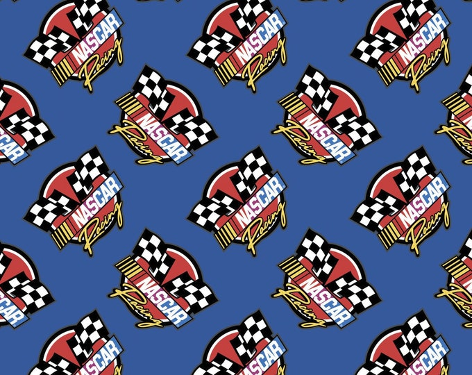 Camelot - Nascar - Retro Racing  - Blue - Checkered Flag - Blue  - 39190106-02 - Sold by the Yard