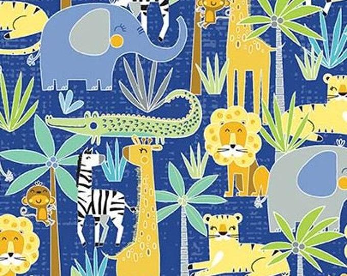 Kanvas for Benartex - Sweet Safari - Jungle Safari - Safari -  Royal Blue - 9896-55 -  Animal fabric - Baby Fabric - Sold by the Yard