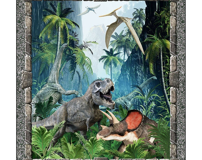 In the Beginning Fabrics - Jurassic - Dinosaur - Realistic Dinosaurs - Panel - Large Panel  - 1JUR1 -  Sold by the Panel