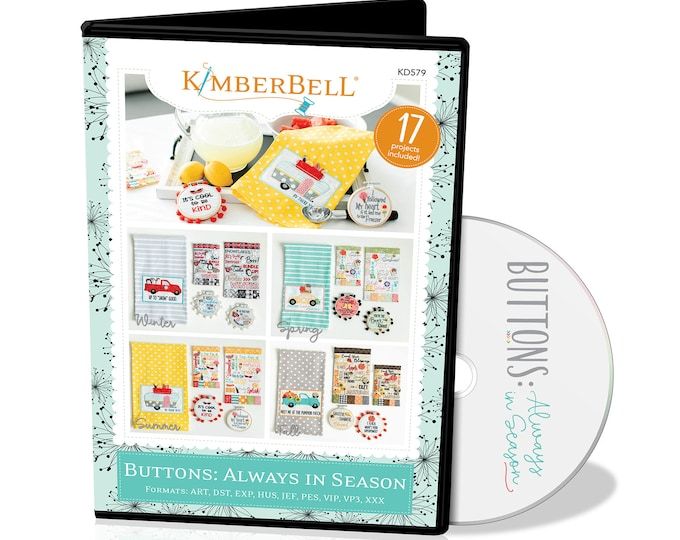 New Kimberbell - Buttons: Always in Season CD - Embroidery Designs  -  Fall - Summer - Spring  - Winter  -  Sold by the CD