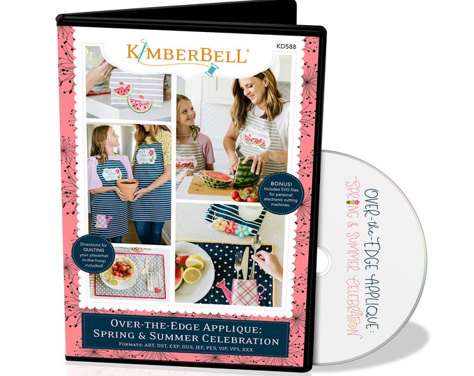 New Kimberbell - Over the Edge Applique - Summer and Spring CD - Embroidery Designs  -  Watermelon - Plants - Flowers -  Sold by the CD