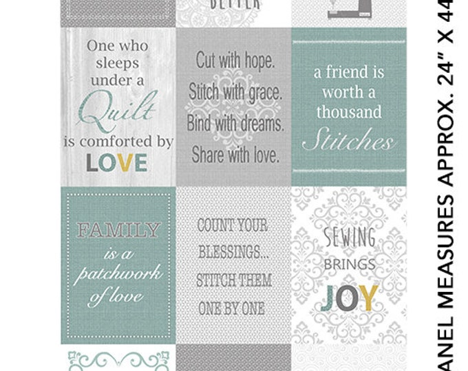 Benartex - Words to Quilt By - Panel - Text - Words - Quilters Patch Panel - 0697199B -  Sold by the Panel
