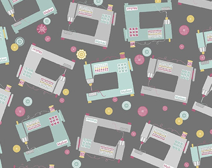Benartex - Words to Quilt By - Sewing Machines - Gray - Quilters Patch - 0697611B -  Sold by the Yard