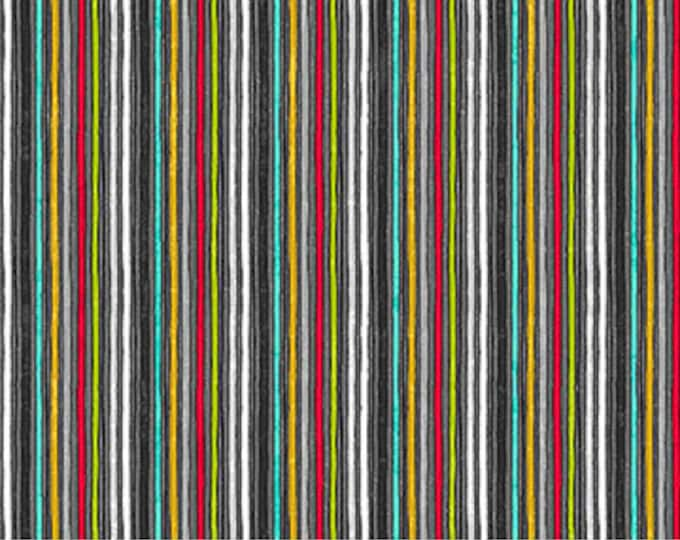 Northcott - Sewing is My Happy Place - Serenity - Barcode Stripe - Multi - 24223-99  - Sold by the Yard