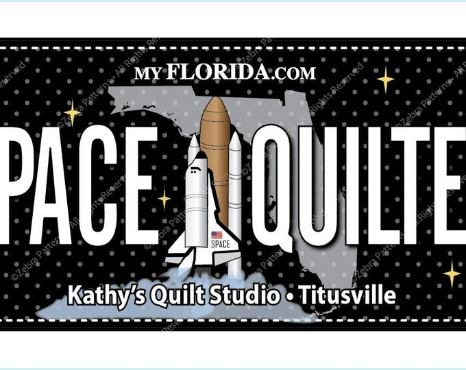 Quilters Trek Licnese Plate - Row by Row License Plate - Space Quilter - Shuttle - Sold by the License Plate