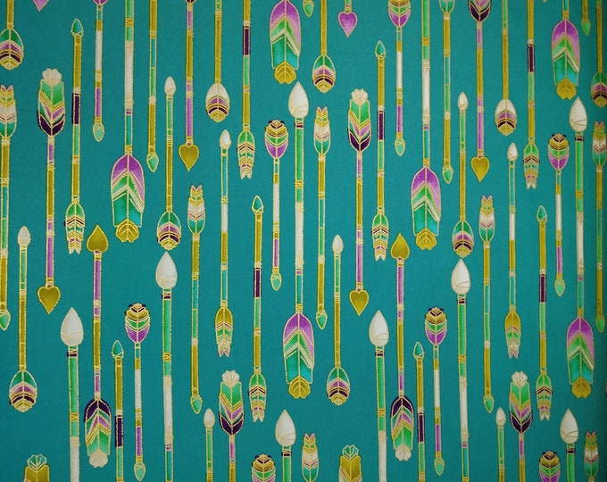Michael Miller Fabrics -  Fry Free - Arrow - Gold Metallics - Teal -  Sold by the Yard