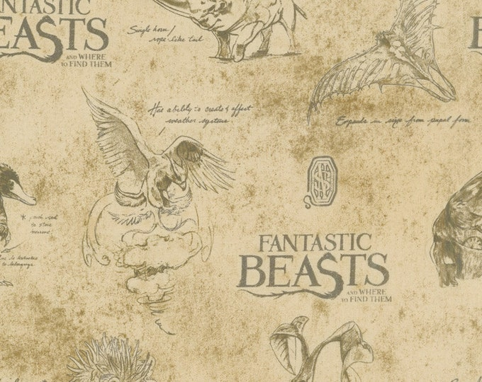 Camelot - Harry Potter - Wizarding World - Fantastic Beasts - Creatures on Textured Background - 23900103 -  Sold by the Yard