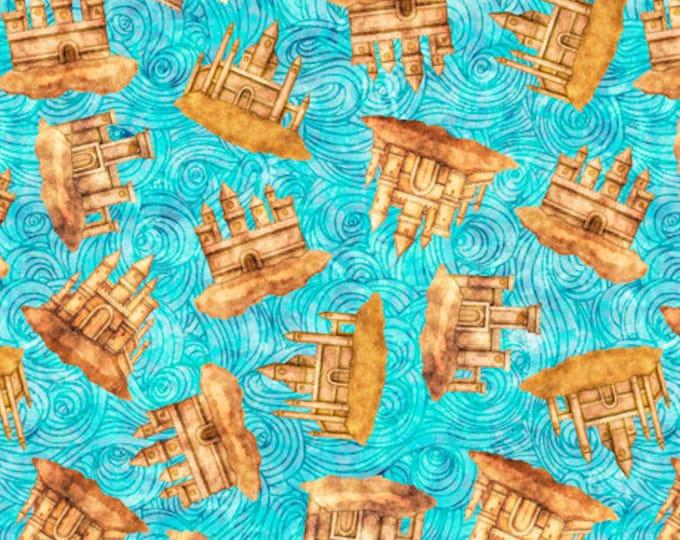 "Quilting Treasures - Sea Serenade  - Mermaid - Sand Castles  - Aqua -  36""x44""  - 27195Q - Sold by the Yard"