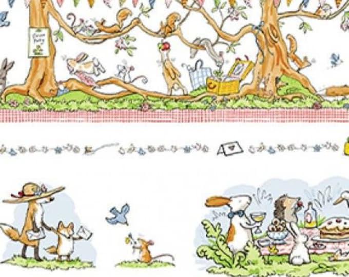 "Clothworks - Garden Party - Border Stripe - Animal -  36"" x 44"" -  y2734-1 - Sold by Yard"